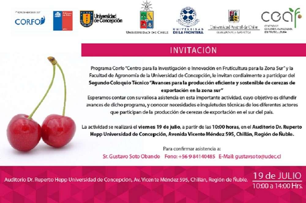 Coloquio: Avances para la producción eficiente y sostenible de cerezas de exportación en la zona sur