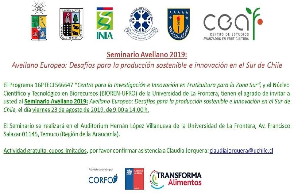 """Seminario Avellano Europeo: «Desafíos para la producción sostenible e innovación en el Sur de Chile"""""""