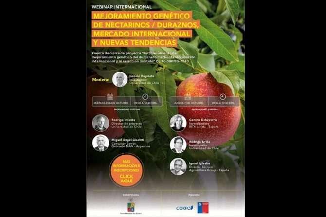 Webinar Internacional: «Mejoramiento genético de nectarinos/duraznero, mercado internacional y nuevas tendencias»